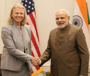 PM  Modi  with  IBM  CEO  Virginia  Rometty,  Sep  29,  2014