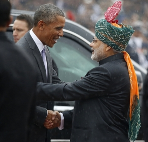 US  President  Barack  Obama  shakes  hands  with  India's  PM  Narendra  Modi -  January  26,  2015.