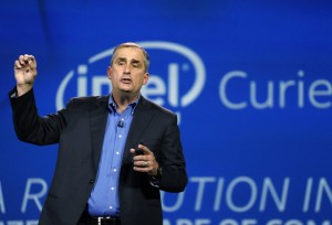 Intel  CEO,  Brian  Krzarnich,  shows  the  'Curie'  button  computer  during  his  Keynote  at  CES 2015.