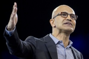 Microsoft  CEO,  Satya  Nadella  during  a  presentation.