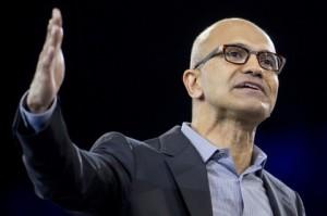Microsoft  CEO,  Satya  Nadella  during  a  presentation.
