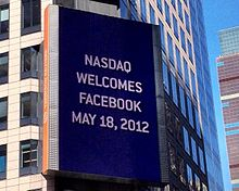 Billboard  on  Thomson  Reuters  building  welcoming  FB  to  NASDAQ  2012.