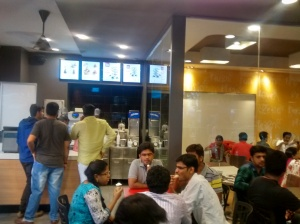 A view  of  customers  in  a  McDonald's   restaurant  in  India.