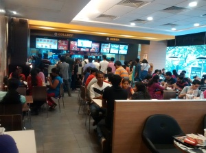 An  inside  view  of  McDonald's  restaurant  in  India.
