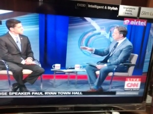 Paul Ryan and Jake Tapper  in the Town Hall.