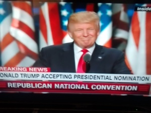 Donald Trump accepting Republican Presidential nomination.