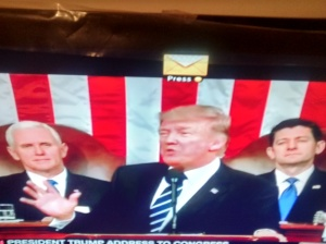 President Donald Trump addressing the Joint Session of Congress.